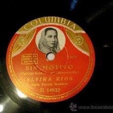 Discos de pizarra: DISCO DE PIZARRA - BOLERO - ELVIRA RIOS - BANDA CASABLANCA. Lote 26662638