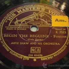 Discos de pizarra: ARTIE SHAW AND HIS ORCHESTRA ( BEGIN THE BEGUINE - ONE NIGHT STAND FOX-TROTS ) HIS MASTER'S VOICE. Lote 24107008