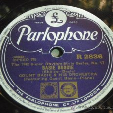Discos de pizarra: COUNT BASIE & HIS ORCHESTRA ( BASIE BOOGIE - 9:20 SPECIAL ) 1942 SUPER RHYTHM STYLE PARLOPHONE. Lote 91035037