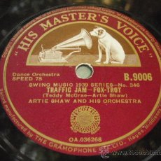 Discos de pizarra: ARTIE SHAW & HIS ORCHESTRA ( TRAFFIC JAM - SERENATE TO A SAVAJE ) ENGLAND HIS MASTER'S VOICE. Lote 162244805