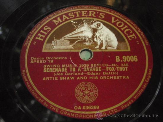 Discos de pizarra: ARTIE SHAW & HIS ORCHESTRA ( TRAFFIC JAM - SERENATE TO A SAVAJE ) ENGLAND HIS MASTERS VOICE - Foto 2 - 162244805