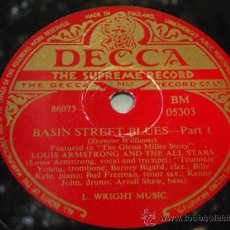 Discos de pizarra: LOUIS ARMSTRONG AND THE ALL STARS ( BASIN STREET BLUES PART 1 Y 2 ) DECCA. Lote 9684155