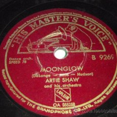 Discos de pizarra: ARTIE SHAW & HIS ORCHESTRA ( MOONGLOW - MY BLUE HEAVEN ) ENGLAND HIS MASTER'S VOICE. Lote 28192902