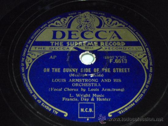 LOUIS ARMSTRONG VOCAL & HIS ORCHESTRA (ON THE SUNNY SIDE OF THE STREET - ONCE IN A WHILE) ENGLAND (Música - Discos - Pizarra - Jazz, Blues, R&B, Soul y Gospel)
