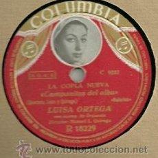 Discos de pizarra: LUISA ORTEGA DISCO PIZARRA 78 RPM. DEL SELLO COLUMBIA. DEL ESPECTACULO, LA COPLA NUEVA. Lote 29744817