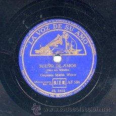 Discos de pizarra: ORQUESTA MAREK WEBER / SUEÑO DE AMOR / LA BELLA DURMIENTE (LA VOZ DE SU AMO). Lote 29824873