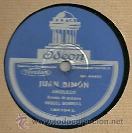 ANGELILLO (FLAMENCO) DISCO DE PIZARRA 78 RPM. DEL SELLO ODEON (Música - Discos - Pizarra - Flamenco, Canción española y Cuplé)