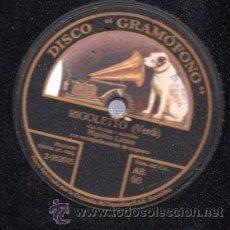 Discos de pizarra: DISCO DE PIZARRA LA VOZ DE SU AMO, RIGOLETTO, VERDI, HIPÓLITO LÁZARO. Lote 30627115