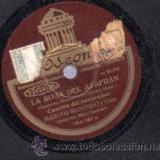 Discos de pizarra: DISCO DE PIZARRA, LA ROSA DEL AZAFRÁN, MARCOS REDONDO Y CORO. Lote 30627551