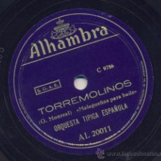 Discos de pizarra: TORREMOLINOS (MALAGUEÑAS PARA BAILE) + CUCHILLEROS (PANADEROS PARA BAILE). Lote 30645476