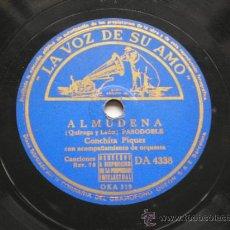 Discos de pizarra: CONCHITA PIQUER: ALMUDENA / DIME QUE ME QUIERES. Lote 30777766