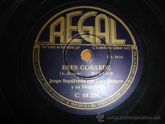 JORGE SEPULVEDA ERES COBARDE EDICION DE ESPAÑA BOLERO (Música - Discos - Pizarra - Jazz, Blues, R&B, Soul y Gospel)