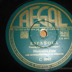 Discos de pizarra: DISCO DE PIZARRA DE LAS HERMANAS FLETA PASODOBLE. Lote 30854987