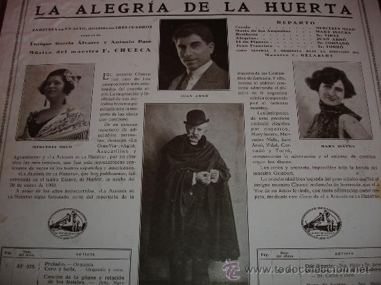 Discos de pizarra: F. CHUECA LA ALEGRIA DE LA HUERTA - Foto 2 - 30855766