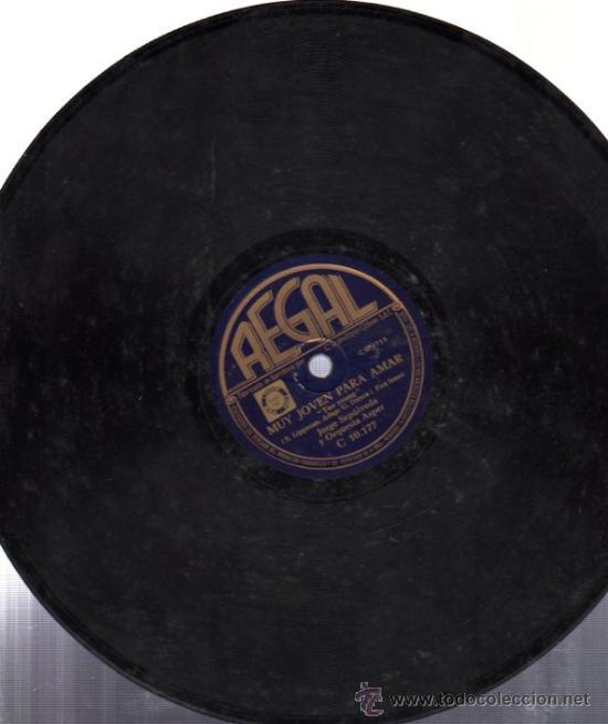 Discos de pizarra: DISCO DE PIZARRA AY MORENA MÍA, JORGE SEPÚLVEDA Y ORQUESTA ASPER, MUY JOVEN PARA AMAR - Foto 2 - 31609858