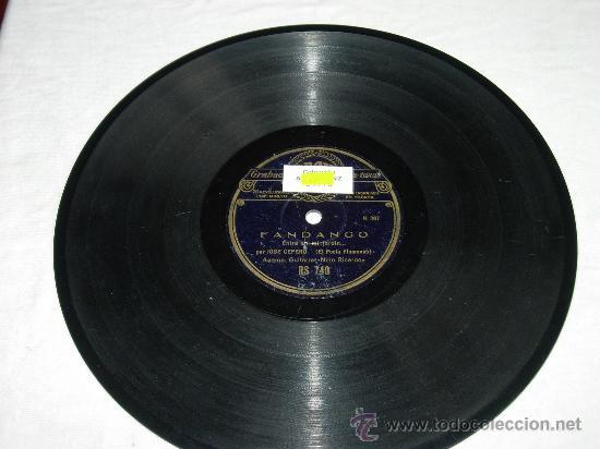 FANDANGO ENTRE EN MI JARDIN.. POR JOSE CEPERO (EL POETA FLAMENCO) ACOMP GUITARRA NIÑO RICARDO (Música - Discos - Pizarra - Flamenco, Canción española y Cuplé)