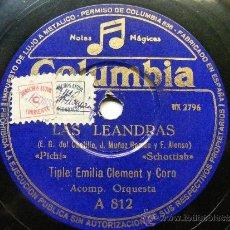 Discos de pizarra: EMILIA CLEMENT COLUMBIA 812 TIPLE 78RPM LAS LEANDRAS. Lote 31727923