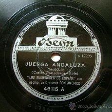 Discos de pizarra: LOS RUISEÑORES DE ESPAÑA ODEON 46115 78RPM JUERGA ANDALUZA / JOTAS ARAGINESAS. Lote 32243194