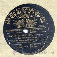 Discos de pizarra: ALEXANDER BRAILOWSKY (PIANISTA) / FANTAISIE IMPROMPTU / MAZURKA (POLYDOR 95324). Lote 32299604