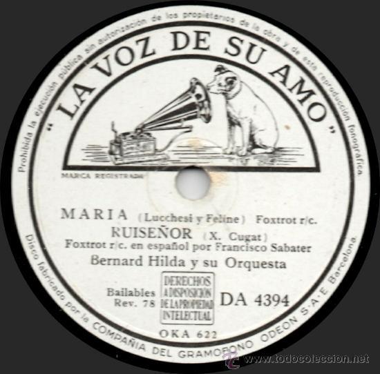 BERNARD HILDA Y SU ORQUESTA - MARÍA - PIZARRA LA VOZ DE SU AMO - DA 4394 - ESPAÑA 1943 (Música - Discos - Pizarra - Jazz, Blues, R&B, Soul y Gospel)