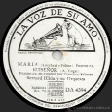 Discos de pizarra: BERNARD HILDA Y SU ORQUESTA - MARÍA - PIZARRA LA VOZ DE SU AMO - DA 4394 - ESPAÑA 1943. Lote 32371206