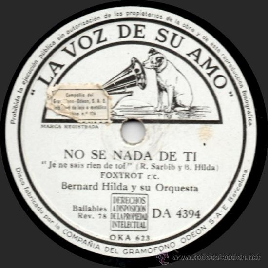 Discos de pizarra: Bernard Hilda Y Su Orquesta - María - Pizarra La Voz De Su Amo - DA 4394 - España 1943 - Foto 2 - 32371206