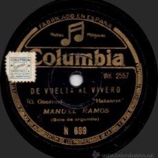 Discos de pizarra: MANUEL RAMOS - DE VUELTA AL VIVERO - PIZARRA 10'' COLUMBIA - N 689 - ESPAÑA. Lote 32373613