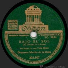 Discos de pizarra: ORQUESTA MARTÍN DE LA ROSA - BAJO EL SOL - PIZARRA ODEON 203.807 - ESPAÑA -. Lote 32382095