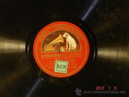 LAWRENCE TIBBETT - LA PALOMA BLANCA (40-159?) / CUANDO TE MIRO (4?-????) - LA VOZ DE SU AMO DA 1102 (Música - Discos - Pizarra - Bandas Sonoras y Actores )