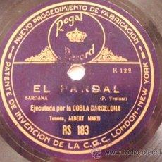 Discos de pizarra: COBLA BARCELONA : PER TU PLORO, EL PARDAL. TENORA, ALBERT MARTI. REGAL RS 183. Lote 32547221