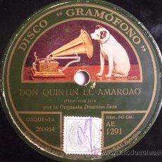 Discos de pizarra: ORQUESTA DEMONS JAZZ : DON QUINTIN EL AMARGAO (JAVA, SCHOTTISCH) GRAMOFONO AE 1291. Lote 32827472