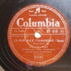 Discos de pizarra: ANTIGUO DISCO PIZARRA: EDITH PIAF : JEZEBEL; LA RUE AUX CHANSONS. COLUMBIA BF 419. Lote 32902096