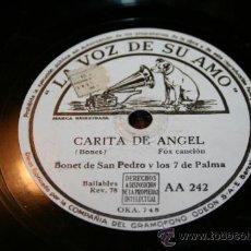 Discos de pizarra: DISCO DE PIZARRA - BONET DE SAN PEDRO - CARITA DE ANGEL / ESTE ES ARRUZA. Lote 33006249