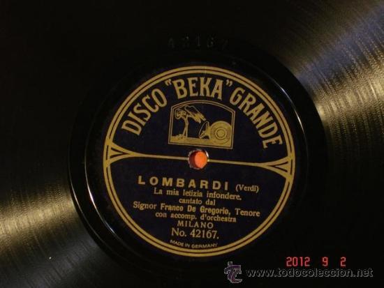 Discos de pizarra: Franco de Gregorio - Rigoletto - La Donna e Mobile (42118) / Lombardi (42167) - Disco Beka Grande - Foto 3 - 33069674