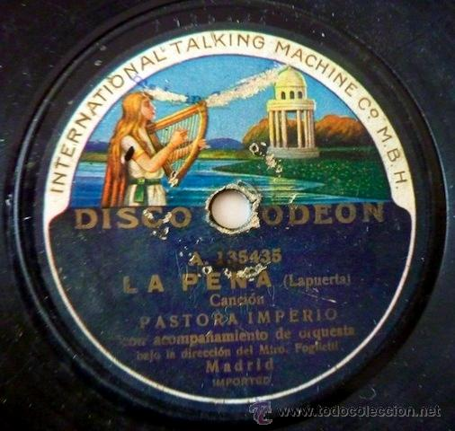 Discos de pizarra: Pastora Imperio. Disco de pizarra 78 RPM. Disco Odeon. - Foto 2 - 33080609