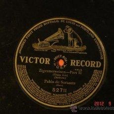 Discos de pizarra: PABLO DE SARASATE - ZIGEUNERWEISEN PART II (GIPSY AIRS) - VICTOR RECORD 52711-DISCO DE UNA SOLA CARA. Lote 33260153