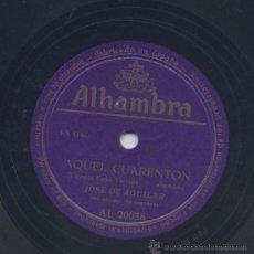 Discos de pizarra: JOSE DE AGUILAR CANCIONES MADRILEÑAS. Lote 33269311