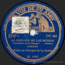 Discos de pizarra: COBLA LA PRINCIPAL DE LA BISBAL - LA SARDANA DE LAS MONJAS - PIZARRA 10'' LA VOZ DE SU AMO - 1940. Lote 33373533