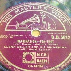 Discos de pizarra: GLENN MILLER & HIS ORCHESTRA WITH VOCAL REFRAIN ( STAR DUST - IMAGINATION ) ENGLAND HMV. Lote 33469702