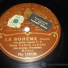 Discos de pizarra: DISCO DE PIZARRA LA BOHEME DE PUCCINI TENOR CARLO ALBANI .. Lote 33845471