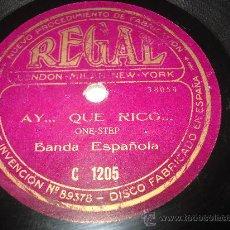 Discos de pizarra: DISCO DE PIZARRA AY QUE RICO Y TORERITO TORERAZO FOX-TROT BANDA ESPAÑOLA .. Lote 33845862