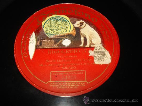 Discos de pizarra: Disco de Pizarra de una Sola Cara RIGOLETTO ** MARIA GALVANY ** - Foto 3 - 33841316
