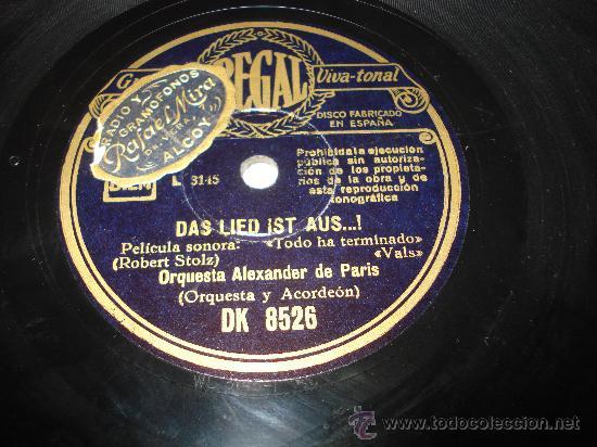 DISCO DE PIZARRA TODO HA TERMINADO VALS ** ORQUESTA ALEXANDER DE PARIS ** (Música - Discos - Pizarra - Bandas Sonoras y Actores )