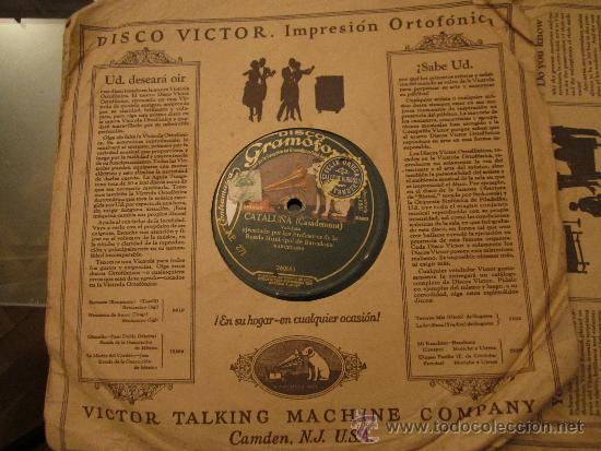 DISCO GRAMOFONO . PROFESORES BANDA MUNICIPAL DE BARCELONA - CATALUÑA - CELOS DE AMOR - CASADEMONT (Música - Discos - Pizarra - Bandas Sonoras y Actores )