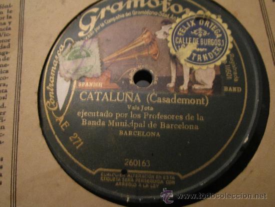 Discos de pizarra: Disco Gramofono . Profesores Banda Municipal de Barcelona - Cataluña - Celos de Amor - Casademont - Foto 2 - 34282620