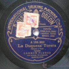 Discos de pizarra: CARMEN FLORES. COUPLE Y COPLA (PIZARRA). Lote 34442577