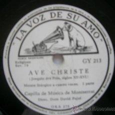 Discos de pizarra: CAPILLA DE MUSICA DE MONTSERRAT - AVE CHIRSTE (PIZARRA). Lote 34492546
