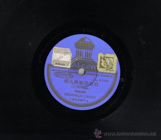 DISCO DE PIZARRA 25 CM, ODEON.SCHOTIS, ORGANILLO CASALI. (Música - Discos - Pizarra - Flamenco, Canción española y Cuplé)
