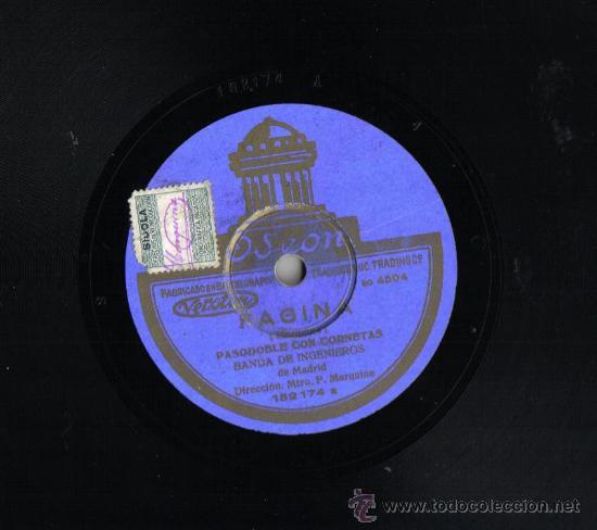Discos de pizarra: DISCO DE PIZARRA 25 CM, ODEON., LEGIONARIOS Y REGULARES Y FAGINA, PASODOBLE BANDA DE INGENIEROS - Foto 2 - 35554935