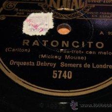 Discos de pizarra: DISCO DE PIZARRA RARISIMO RANTONCITO MICKEY MOUSE /FOX TROT AÑOS 40. Lote 35793904